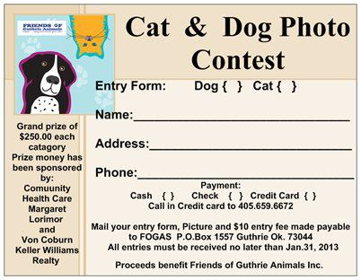 Enter Your Pet In The Dog And Cat Photo Contest | Guthrie News Page
