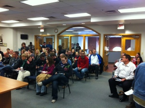 City Hall chambers were packed for the first meeting concerning the Gentlemen of the Road tour. Photo By Chris Evans