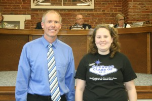 Lily Lacina, pictured with Principa Chris LeGrande, was recognized for her top winning poster.