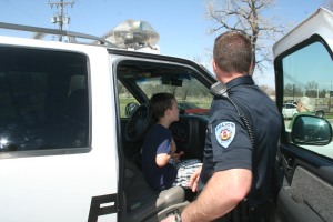 Cale Evans got to see Officer Anthony Gibbs' Lake Patrol vehicle up close.