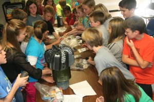 Students at Guthrie Upper Elementary learn the fundamentals on gas and oil through science. Photo By Chris Evans