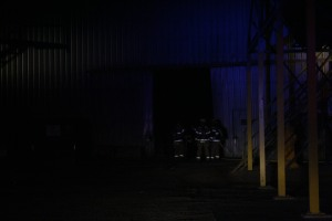 Firefighters were able to knock the fire down inside the metal building. Photo By Chris Evans