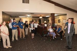Congressman James Lankford speaks inside a Guthrie nursing home on health care. Photo courtesy of Jarrett George.