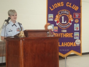 Megan Jack, Girls State participant addresses the Guthrie Noon Lions Club