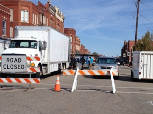Film crews works on a stage set on Harrison Ave. on Monday afternoon for the movie Ta Ata.