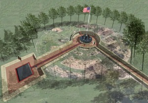 Patriot Park Sculpture Overview: This artist rendering shows the overview of the newest addition to Del City, Okla.'s Patriot Park where a first-ever inclusive Women's Veteran Monument will be dedicated Nov. 11 on Veterans Day. Graphics by Geoff Parker, Architecture Incorporated, PC