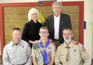(Left to Right) Front Row: Scoutmaster Chris Watson, Jonathan Skinner, former Scoutmaster David Blanchard Back Row: Cathleen Skinner, Matt Skinner Photo By Mark Winkelman