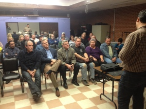 Lance Benton speaks at a public meeting concerning the ODOT project on State Highway 33.