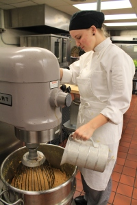 Stillwater Culinary Arts student Makena Wininger is serving as a team lead in making preparations for Meridian Technology Center's annual Thanksgiving Luncheon on November 13.