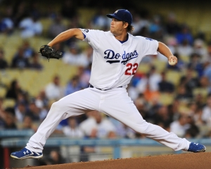 In this image released by the Los Angeles Dodgers Clayton Kershaw is stretching out in his delivery to the plate. Photo by Juan Ocampo  LA Dodgers.