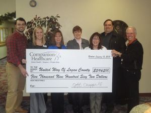 Companion Healthcare presents a check for $5,962 to the United Way of Logan County.  Participating in the presentation are Companion staff: (from left to right) Josh Chappell; Natalie Hardin, United Way Coordinator; Mary Pat Cordis, Cathy Cordis, Donna Bennett; Jeff Chappell, Companion CEO; and Steve Gentling, United Way President.
