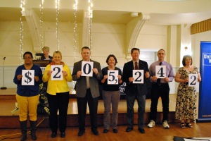 Members of the Board of Directors of the United Way unveil the final donation of $205,242 for the 2015 Campaign.