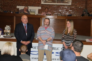 Left to Right: Supt. Dr. Mike Simpson, Bryan Dearing and Sarah Lausen.