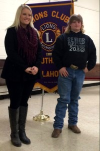 Guthrie Noon Lions Club honors Students of the Month, Abby Chadd (L) and Derek Luster (R).