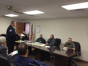 Guthrie Fire Chief Eric Harlow speaks to the Logan County Commissioners on March 2.