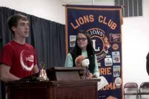 Ryan McIntire (L) and Sarah Datin discuss their future goals after receiving the Students of the Month recognition at a recent Guthrie Noon Lions Club meeting